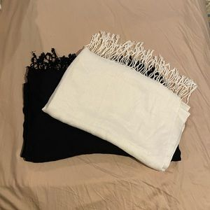 Black and off white pashminas/shawls